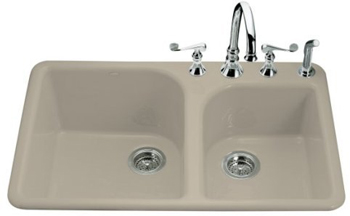 Kohler K-5932-4-G9 Executive Chef Self-Rimming Kitchen Sink - Sandbar (Faucet and Accessories Not Included)