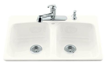 Kohler K-5942-4-0 Brookfield Self-Rimming Kitchen Sink With Four-Hole Faucet Drilling - White (Faucet and Accessories Not Included)