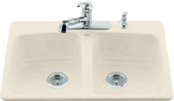 Kohler K-5942-4-47 Brookfield Self-Rimming Kitchen Sink With Four-Hole Faucet Drilling - Almond (Faucet and Accessories Not Included)