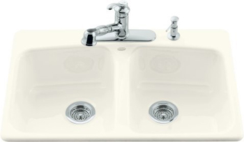 Kohler K-5942-4-96 Brookfield Self-Rimming Kitchen Sink With Four-Hole Faucet Drilling - Biscuit (Faucet and Accessories Not Include)