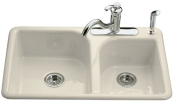 Kohler K-5948-4-47 Efficiency Self-Rimming Kitchen Sink With Four-Hole Faucet Drilling - Almond (Faucet and Accessories Not Included)