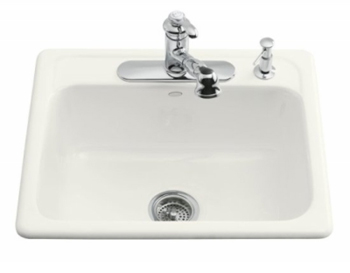 Kohler K-5964-1-0 Mayfield Self-Rimming Kitchen Sink With Single-Hole Drilling - White