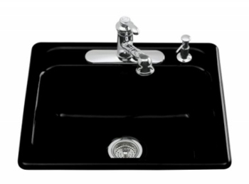Kohler K-5964-1-7 Mayfield Self-Rimming Kitchen Sink With Single-Hole Faucet Drilling - Black