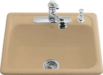 Kohler K-5964-3-33 Mayfield Self-Rimming Kitchen Sink With 3-Hole Faucet Drilling - Mexican Sand (Faucet and Accessories Not Included)