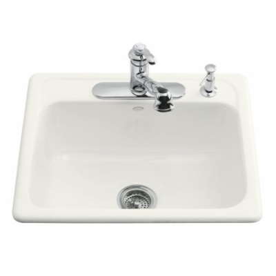 Kohler-K-5964-4-0-Mayfield-Single-Basin-Cast-Iron-Kitchen-Sink---White-(Faucet-and-Accessories-Not-Included)