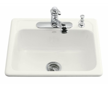 Kohler K-5964-4-0 Mayfield Single Basin Cast Iron Kitchen Sink - White (Faucet and Accessories Not Included)