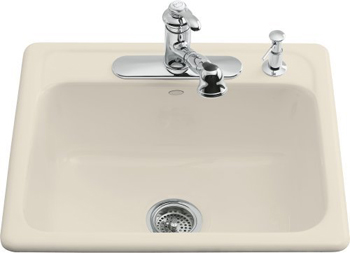 Kohler K-5964-4-47 Mayfield Self-Rimming Kitchen Sink With Four-Hole Faucet Drilling - Almond (Faucet and Accessories Not Included)