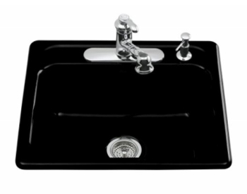 Kohler K-5964-4-7 Mayfield Self-Rimming Kitchen Sink With Four-Hole Faucet Drilling - Black (Faucet and Accessories Not Included)
