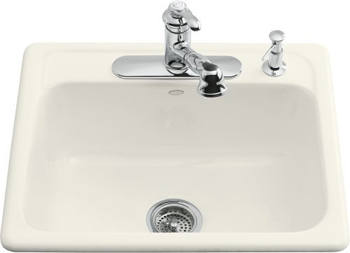 Kohler K-5964-4-96 Mayfield Self-Rimming Kitchen Sink With Four-Hole Faucet Drilling - Biscuit (Faucet and Accessories Not Included)
