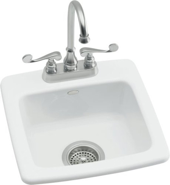 Kohler K-6015-1-0 Gimlet Self-Rimming Entertainment Sink With Single Hole Faucet Drilling - White (Faucet and Accessories Not Included)