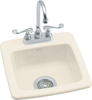 Kohler K-6015-2-47 Gimlet Single Basin Acrylic Bar Sink - Almond (Faucet Not Included)