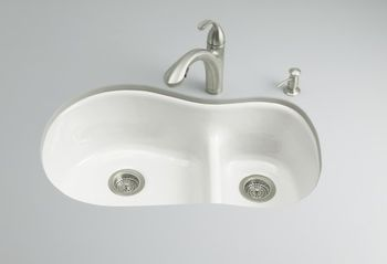 Kohler K-6498-0 Iron/Tones Smart Divide Offset Kitchen Sink - White (Faucet and Accessories Not Included)