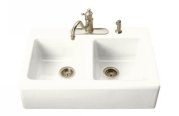 Kohler K-6534-4-0 Hawthorne Double Basin Cast Iron Kitchen Sink - White