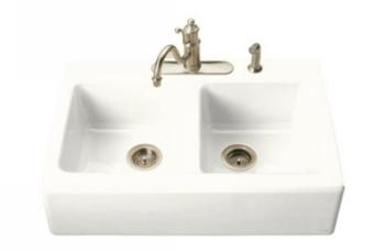 Kohler-K-6534-4-0-Hawthorne-Double-Basin-Cast-Iron-Kitchen-Sink---White