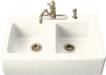 Kohler K-6534-4-96 Hawthorne Double Basin Cast Iron Kitchen Sink - Biscuit