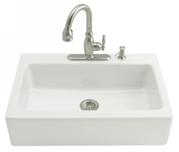 Kohler K-6546-3-0 Dickinson Tile-In Apron-Front Kitchen Sink-3 Hole Faucet Drilling - White (Faucet and Accessories Not Included)