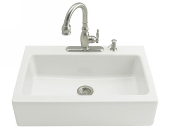 Kohler K-6546-4-0 Dickinson Tile-In Apron-Front Kitchen Sink-4 Hole Faucet Drilling - White