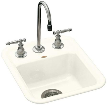 Kohler K-6560-2-96 Aperitif Single Basin Cast Iron Bar Sink - Biscuit (Faucet Not Included)