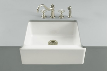 Kohler K-6573-5U-0 Alcott Apron-Front Undercounter Sink - White (Faucet and Accessories Not Included)