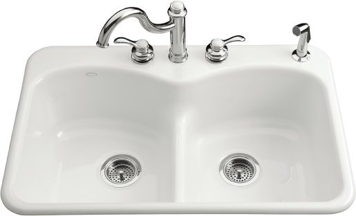 Kohler K-6626-2-0  Langlade Double Basin Smart Divide Cast Iron Kitchen Sink - White (Faucet and Accessories Not Included)