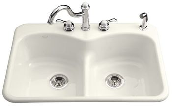 Kohler K-6626-2-96 Langlade Smart Divide Kitchen Sink - Biscuit (Faucet and Accessories Not Included)