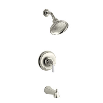 Kohler K-T10581-4P-SN Bancroft Tub & Shower Faucet Trim Kit w/White Ceramic Lever Handle - Polished Nickel