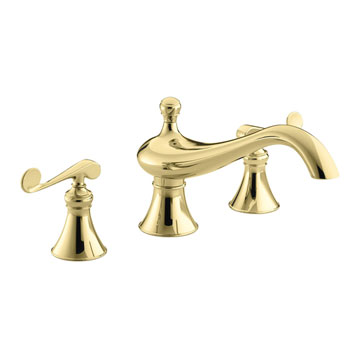 Kohler K-T16119-4-PB Revival Deck-Mount High-Flow Bath Faucet Trim With Scroll Lever Handles - Polished Brass