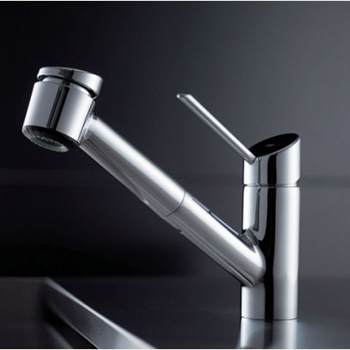 KWC 10.021.033.000LL Edge One Handle Pull-Out Spray Kitchen Faucet - Stainless Steel (Pictured in Polished Chrome)