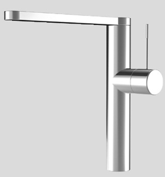 KWC 10.151.413.700 Ono Single Hole Kitchen Faucet with Swivel Spout - Stainless Steel (Pictured in Polished Chrome)