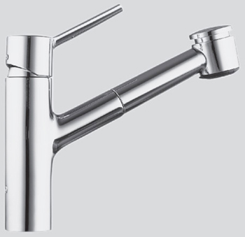 KWC 10.211.033.127 Luna One Handle Pull-Out Spray Kitchen Faucet - Stainless Steel (Pictured in Chrome)