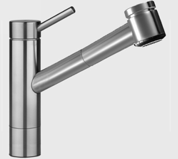 KWC 10.271.333.700 Suprimo Single Handle Pull Out Spray Kitchen Faucet    Stainless Steel