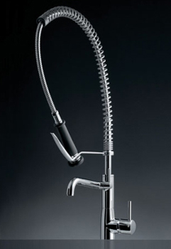 KWC 10.501.154.127 Systema One Handle Pro Pre-Rinse Kitchen Faucet - Stainless Steel (Pictured in Polished Chrome)