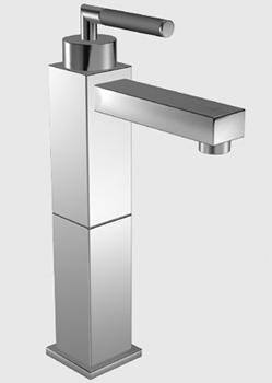 KWC 12.251.102.006 QBix-Art Single Lever Vessel Faucet - Polished Chrome/Black