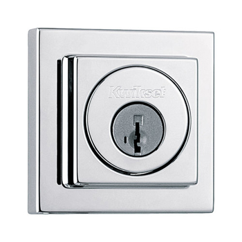 Kwikset 993SQT-S Square Contemporary Single Cylinder Deadbolt - Satin Nickel (Polished Chrome)