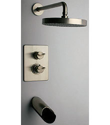 La Toscana 73PW691LZ Morgana Thermostatic Tub/Shower Valve and Trim - Brushed Nickel and Wenge