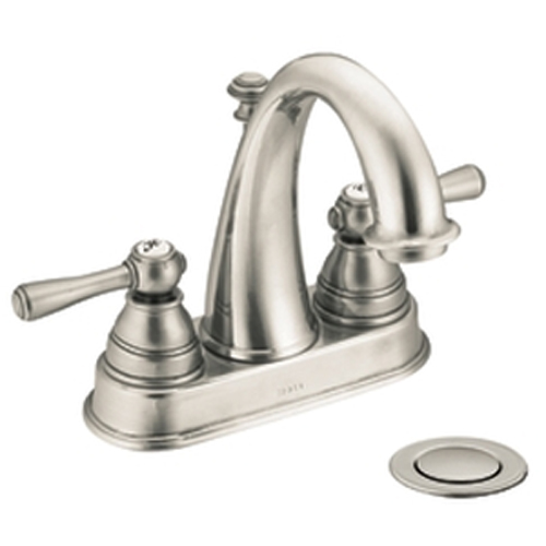Moen 6121BN Kingsley Two-Handle Centerset Lavatory Faucet Brushed Nickel