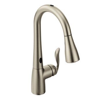 Moen 7594ESRS Arbor Single Handle/Hole Pull Down Kitchen Faucet With  MotionSense   Spot Resist Stainless