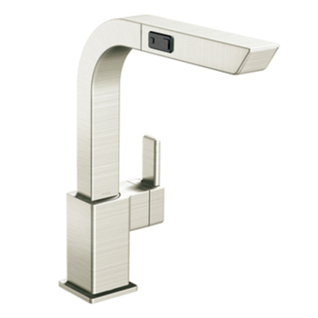 Moen S7597CSL 90 Degree Single Handle High Arc Pull-Out Kitchen Faucet - Classic Stainless