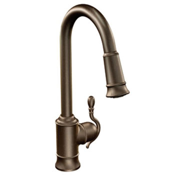 Moen S7208ORB Woodmere Single Handle/Hole High Arc Pulldown Kitchen Faucet - Oil Rubbed Bronze