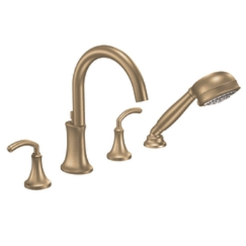 Moen TS964BB Icon Two-Handle High Arc Roman Tub Faucet Trim with Handshower Brushed Bronze