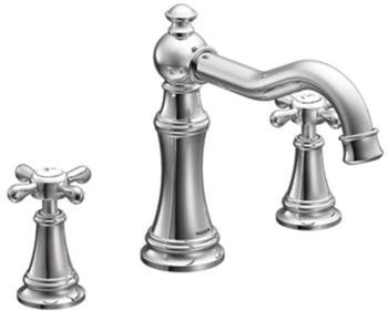 moen ts22101 weymouth two handle high arc roman tub faucet trim chrome - Roman Tub Faucets