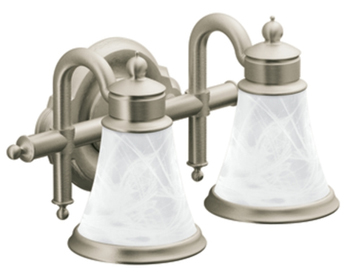Moen YB9862BN Waterhill 2 Light Bathroom Fixture - Brushed Nickel