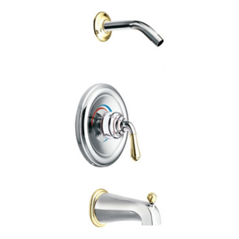 Moen T2449NHCP Monticello Posi-Temp(R) Single Handle Tub/Shower Trim -  Chrome/Polished Brass
