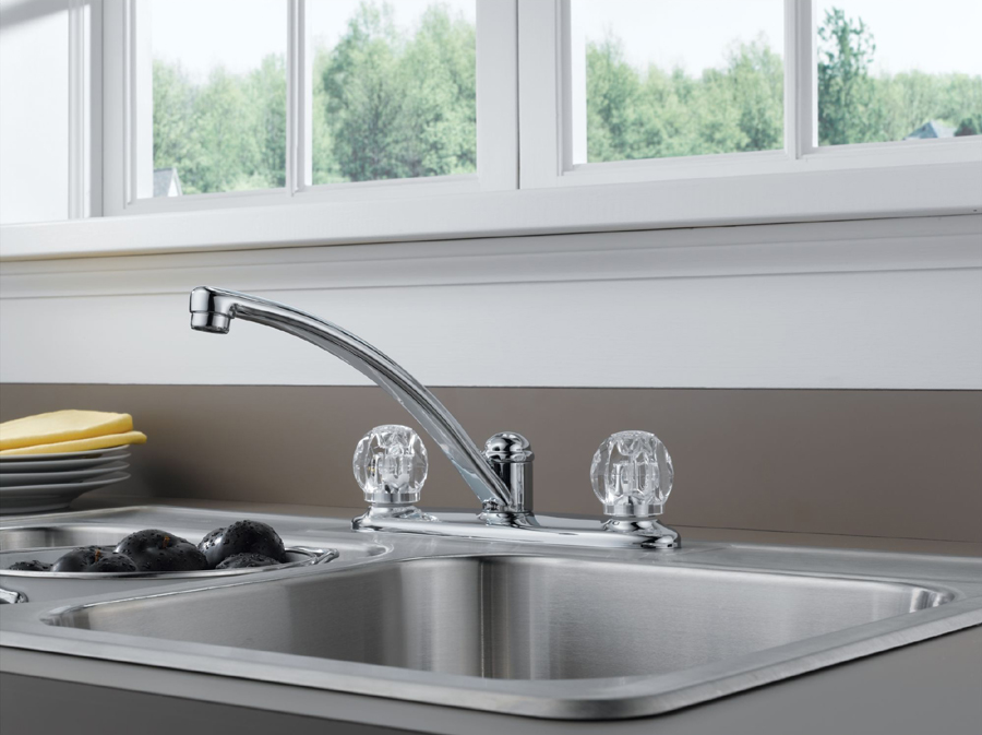 Delta B2312LF Foundations Core-B Two Acrylic Knob Handle Kitchen Faucet