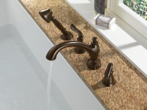 Delta T4794-RB Linden Two Handle Roman Tub With Handshower Trim