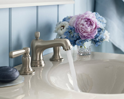 Kohler K-10577-4-BN Bancroft Widespread Lavatory Faucet With Metal Lever Handles