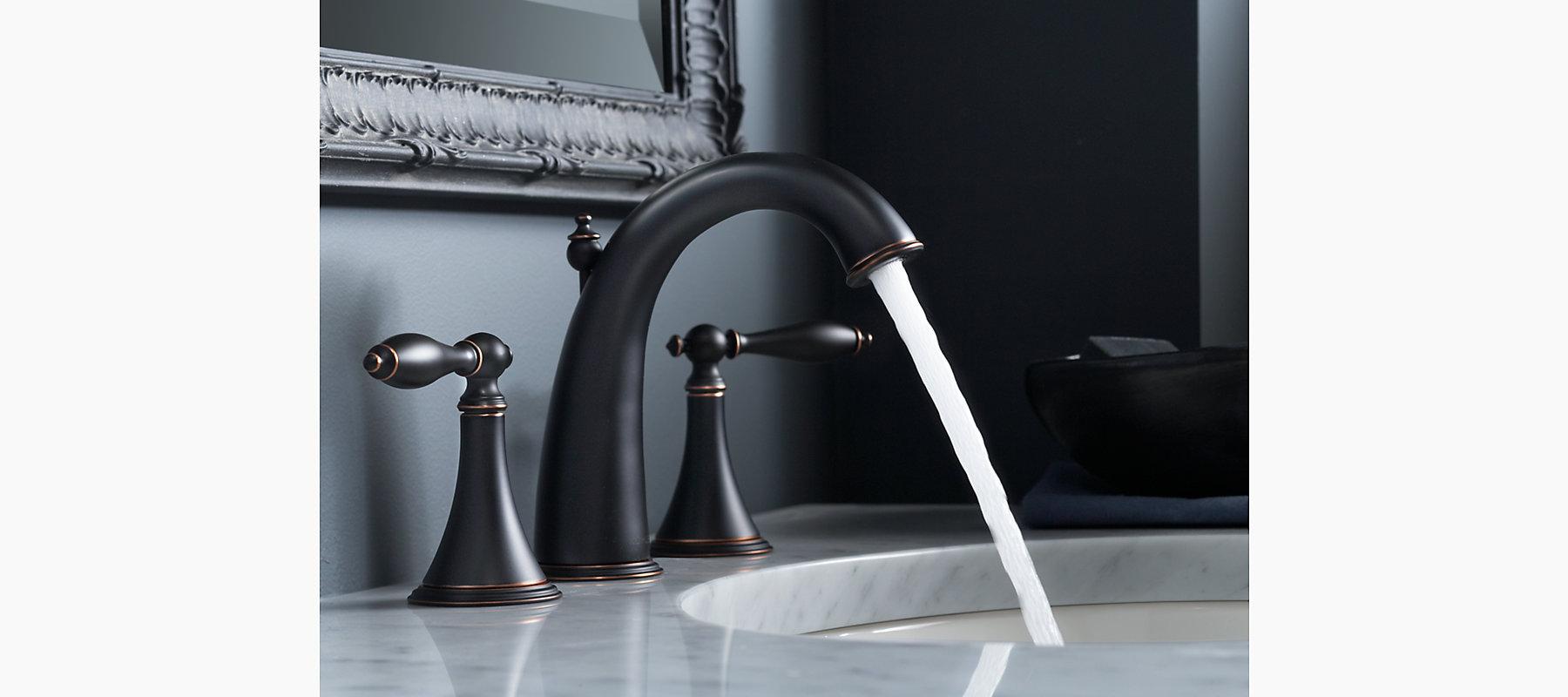 Shop Classic High Spout Oil Rubbed Bronze Bathroom Faucet: Kohler K-310-4M-2BZ Finial Traditional Widespread Lavatory