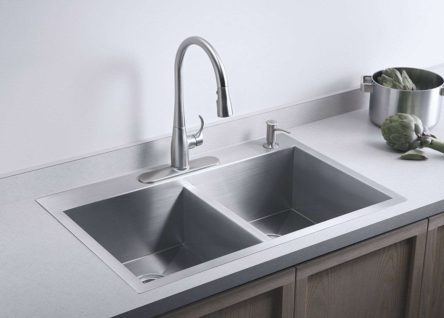 Kohler K 3820 4 Na Double Basin Kitchen Sink With Four Hole Faucet Drilling From The Vault Collection Stainless Steel Faucetdepot Com