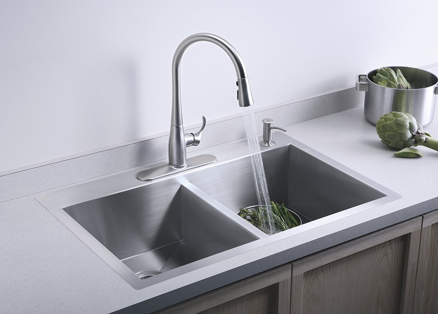 Kohler K 3820 4 Na Double Basin Kitchen Sink With Four