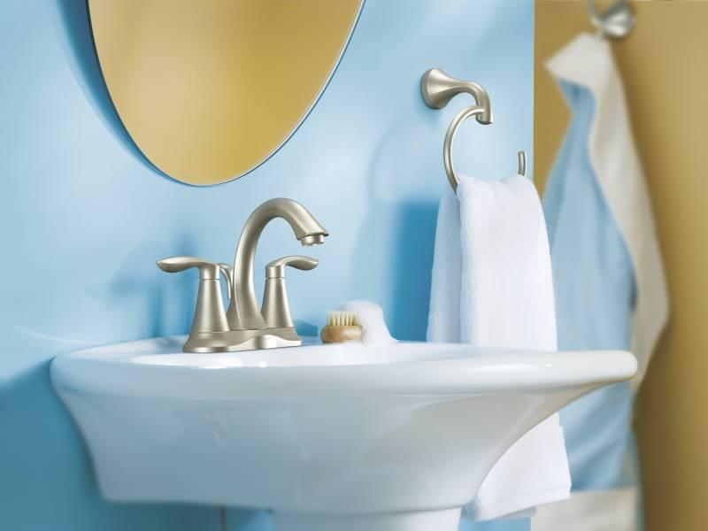 Moen 6410BN Eva Two Handle Centerset Lavatory Faucet Brushed Nickel ...